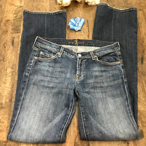 7 For All Mankind Denim - 7 For All Mankind Dark Wash Boot Cut Jeans 28